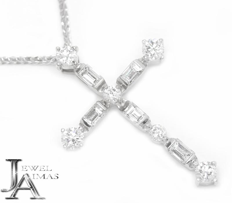 ダイヤモンド 0.53ct クロス 十字架 ネックレス K18WG ホワイトゴールド <スライド式アジャスター付き>【中古】【ジュエリー】MEB