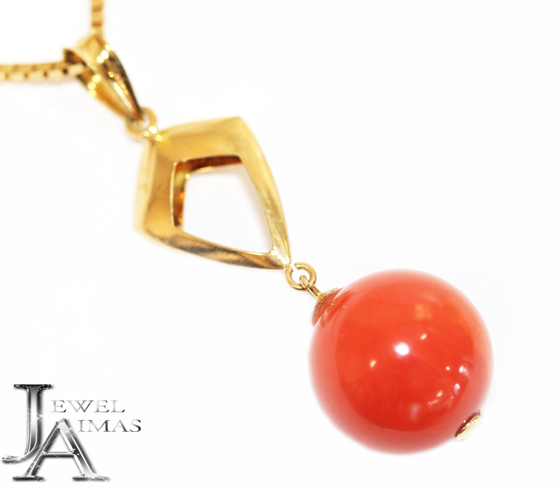 赤珊瑚 赤さんご 赤サンゴ 11.5mm ネックレス K18YG イエローゴールド【中古】【ジュエリー】MEP