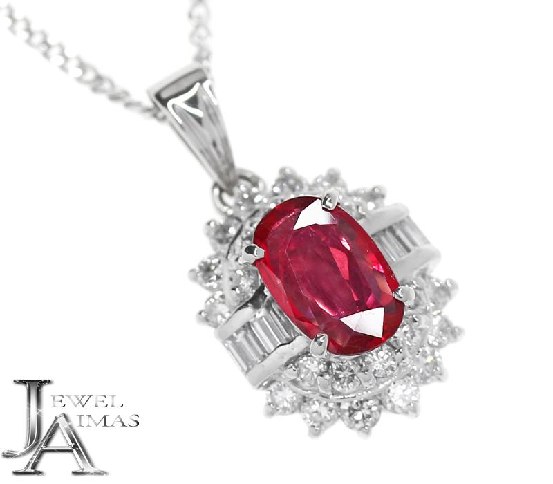 ルビー 1.01ct ダイヤモンド 0.85ct ネックレス オーバル 楕円 PT900/PT850 プラチナ【中古】【ジュエリー】RZE.I