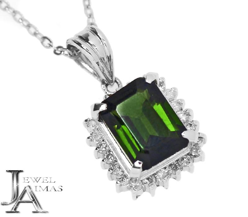 グリーントルマリン 1.63ct ダイヤモンド 0.2ct ネックレス PT850/PT900 プラチナ【中古】【ジュエリー】RZE.I