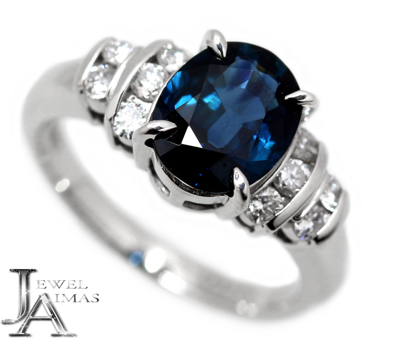 ブルーサファイア 3ct ダイヤモンド 0.38ct オーバル 楕円 リング 11.5号 PT850 プラチナ【中古】【ジュエリー】RZY.MI