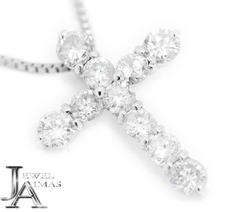 ダイヤモンド 1ct クロス 十字架 ネックレス PT900/PT850 プラチナ 【中古】【ジュエリー】MEB