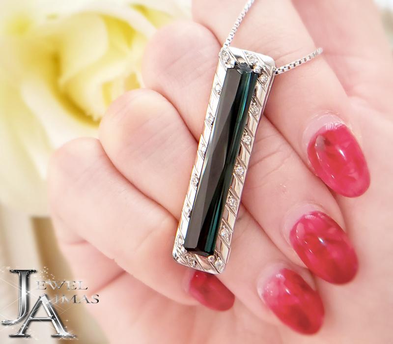 トルマリン ダイヤモンド 正規品 100%品質保証 ネックレス 6.56ct 0.2ct 長方形 レクタングル 中古 プラチナ MEJZ PT900 ジュエリー PT850 スクエア