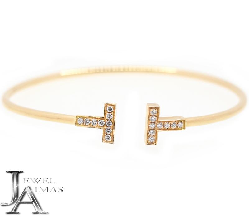 【Tiffany & Co.】ティファ二ー Tワイヤー ダイヤモンド 18P バングル ブレスレット K18PG ピンクゴールド【中古】RZZ.MI