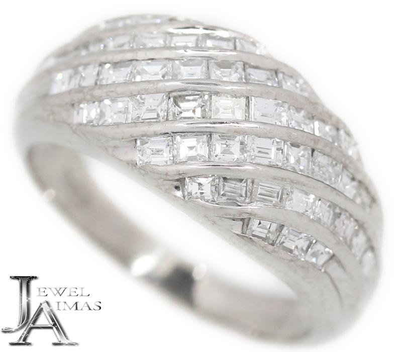 ダイヤモンド 1.31ct バケットカット パヴェダイヤ リング 14.5号 PT900 プラチナ【中古】【ジュエリー】MEL