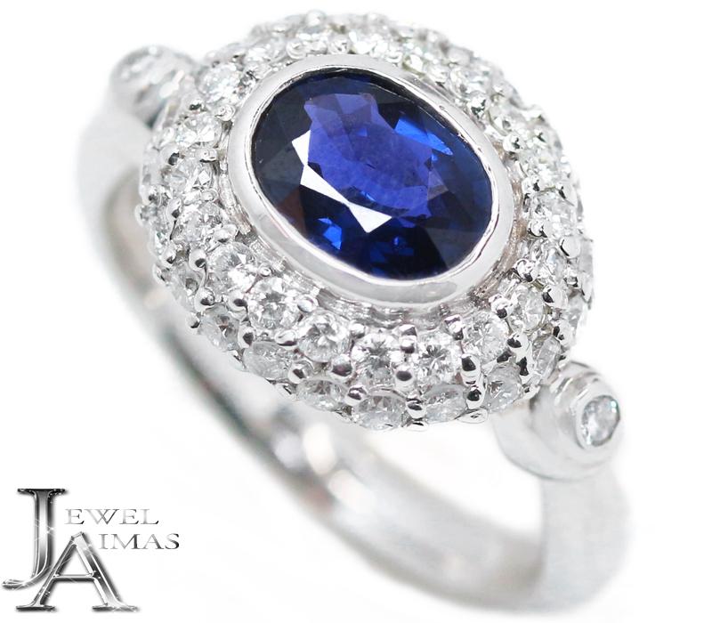 サファイア 年中無休 ダイヤモンド リング ブルーサファイア 1.24ct 0.72ct オーバル 楕円 12号 PT900 ジュエリー MEL 新作通販 プラチナ 中古