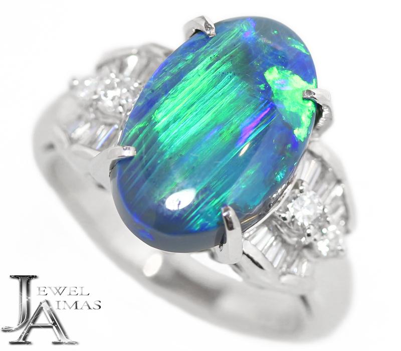 ブラックオパール 4.586ct ダイヤモンド 0.44ct オーバル 楕円 リング 11号 PT900 プラチナ <遊色効果>【中古】【ジュエリー】MEL