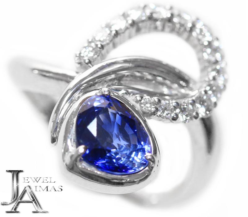 ブルーサファイア 2.2ct ダイヤモンド 0.53ct アシンメトリー リング 17号 PT900 プラチナ【中古】【ジュエリー】MEB