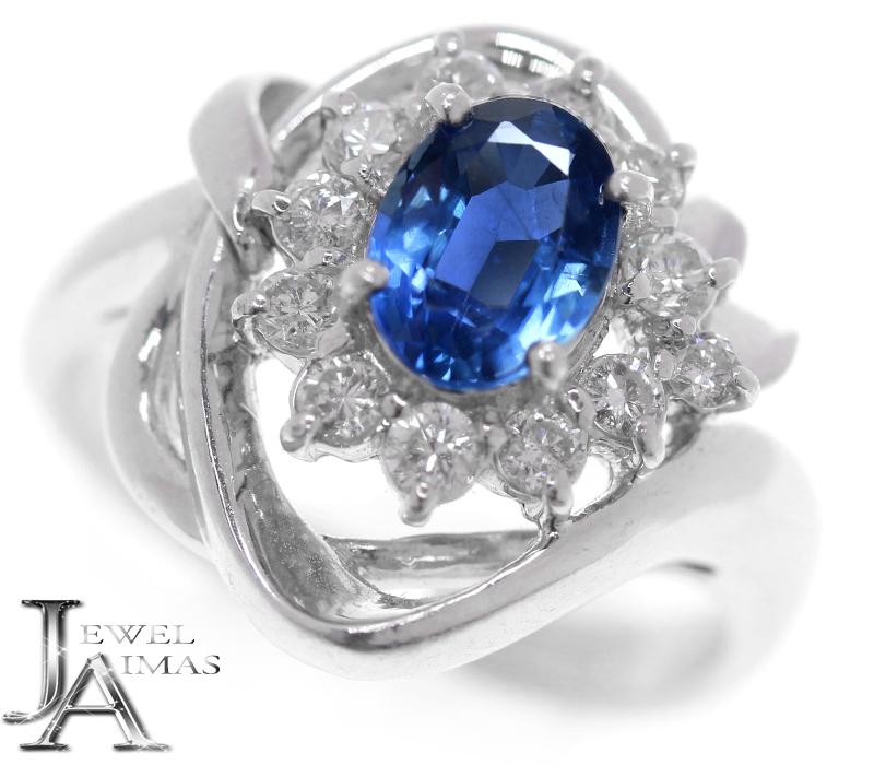 ブルーサファイア 1ct ダイヤモンド 0.38ct オーバル 楕円 リング 10号 PT900 プラチナ【中古】【ジュエリー】MEB