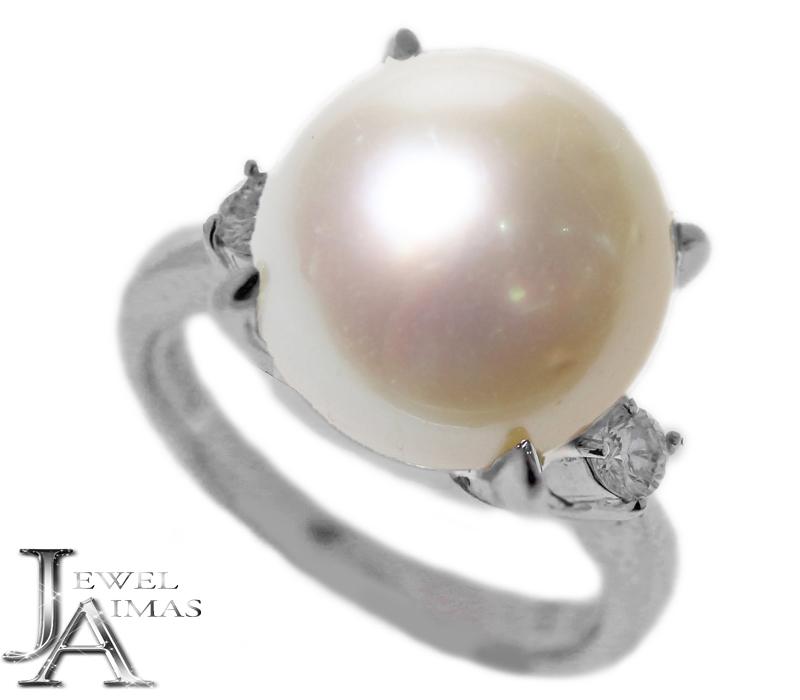 パール 真珠 12.4mm ダイヤモンド 0.18ct リング 11号 PT900 プラチナ【中古】【ジュエリー】MEP