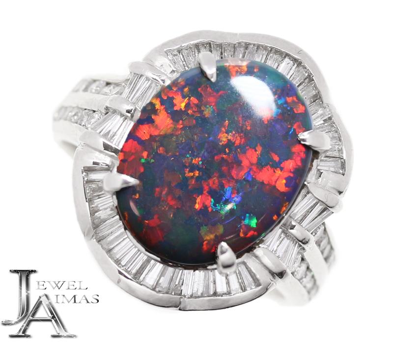 ブラックオパール 3.55ct ダイヤモンド 0.7ct オーバル リング 15号 PT900 プラチナ<遊色効果>【中古】【ジュエリー】RZM.T