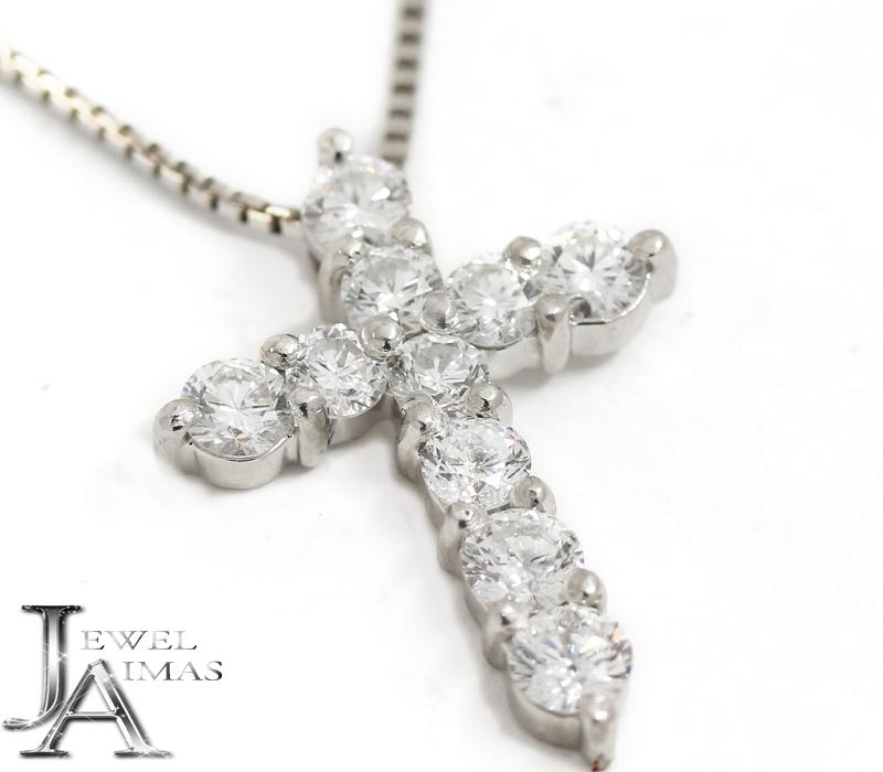 ダイヤモンド 1ct クロス 十字架 ネックレス PT900/PT850 プラチナ <スライド式アジャスター>【中古】【ジュエリー】MEL