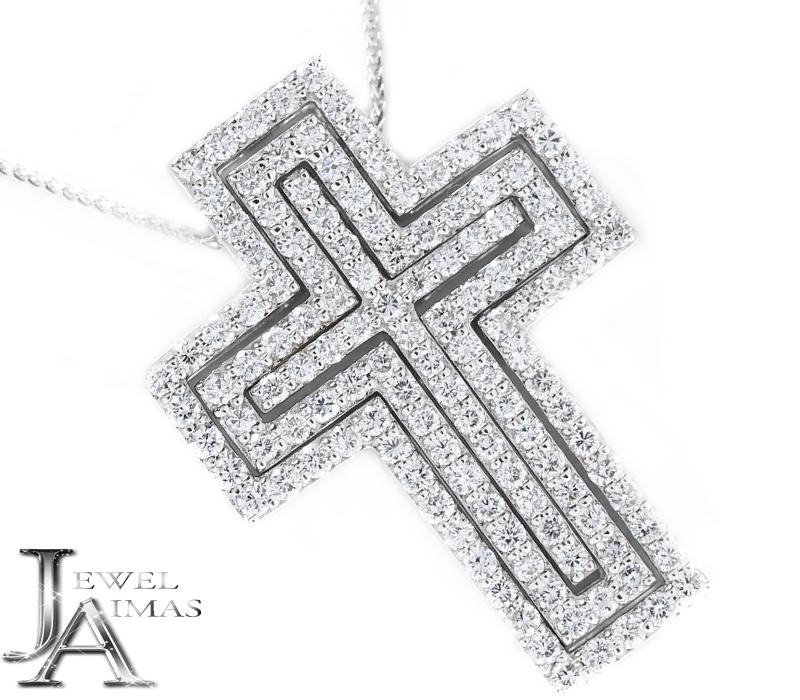 ダイヤモンド 1ct/0.7ct/0.3ct(計:2ct) クロス 十字架 3WAY 3重クロス ネックレス K18WG ホワイトゴールド<スライド式アジャスター付き>【ジュエリー】【中古】MEB