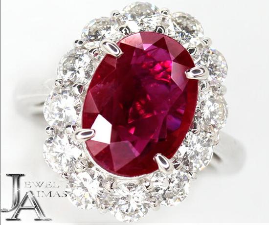 大粒結晶【ジュエリー】ルビー 5.04ct ダイヤモンド 2.01ct リング 12号 PT900【中古】