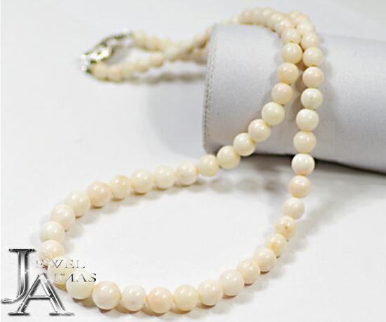 【ジュエリー】白珊瑚 さんご 白サンゴ 4.6-8.2mm 23g ネックレス シルバー【中古】