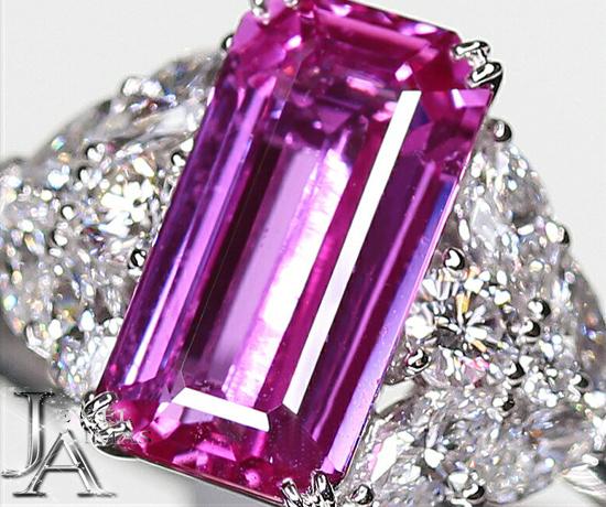 【ジュエリー】ピンクサファイア 3.85ct ダイヤモンド 1.22ct リング 13号 PT900【中古】ZPL
