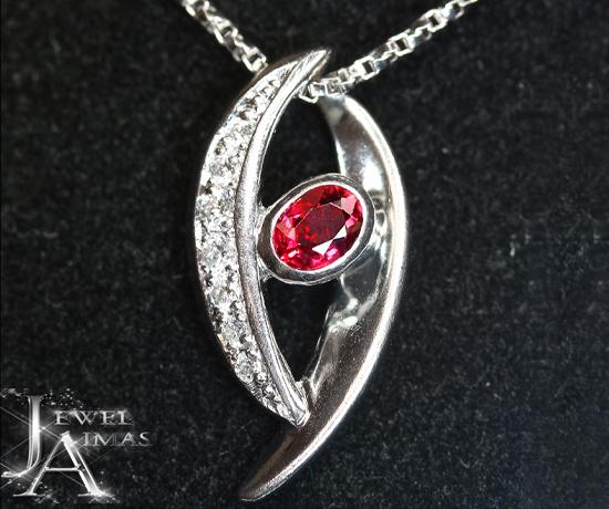 ルビー 0.3ct ダイヤモンド 0.15ct ネックレス PT900 プラチナ【中古】【ジュエリー】 MJY