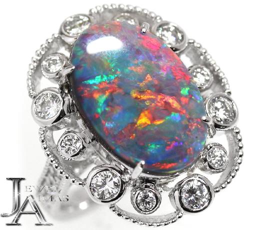 ブラックオパール 3.35ct ダイヤモンド 1.02ct リング 12.5号 PT900 プラチナ <遊色効果>【新品】【ジュエリー】MJY