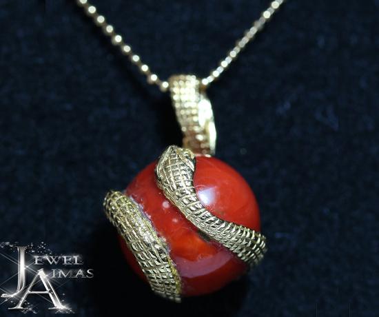 赤珊瑚 赤サンゴ 赤さんご H 13.3mm×W 13.4mm ダイヤモンド 2P ネックレス K18YG イエローゴールド <スライド式アジャスター付き>【ジュエリー】【中古】MJY