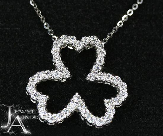 ダイヤモンド 0.643ct クローバー 三つ葉 ネックレス K18WG ホワイトゴールド 【ジュエリー】【中古】MJY