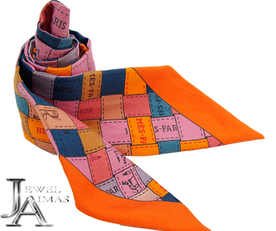 【HERMES】エルメス ツイリー スカーフ ボルデュック・チェック オレンジ ピンク ブルー シルク100% Twilly Scarf【中古】