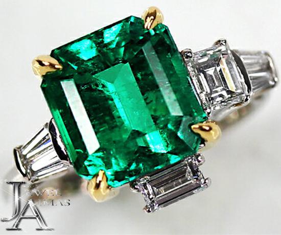 Emerald Diamond Ring F1マイナーエンハンスメントエメラルド 4.86ct ダイヤモンド 0.84ct Central Park Ring PT900/K18YG 13号 セントラルパーク・エメラルド・リング<GIA>【新品】【ジュエリー】【動画】