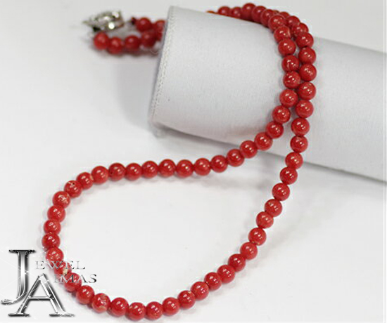 【ジュエリー】赤珊瑚 赤サンゴ さんご 5mm-5.5mm ネックレス 17.1g シルバー【中古】