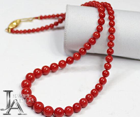【ジュエリー】赤珊瑚 赤サンゴ さんご 3mm-8.5mm ネックレス 19.7g 【中古】