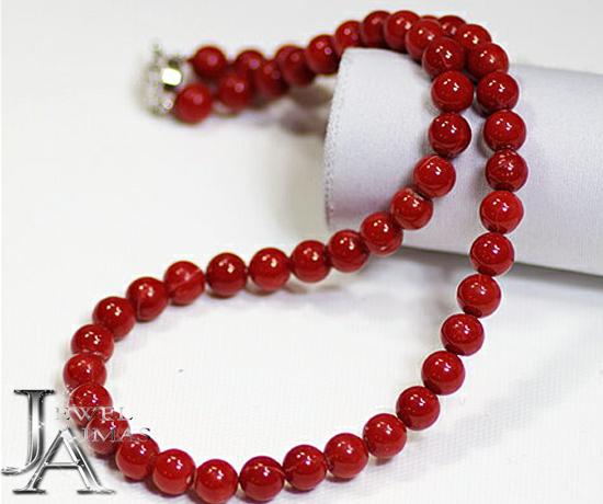 【ジュエリー】赤珊瑚 7.5mm-8mm玉 36.8g ネックレス 赤サンゴ 赤さんご シルバー【中古】
