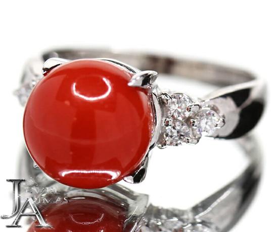 【ジュエリー】赤珊瑚 赤サンゴ 赤さんご 9.2mm ダイヤモンド 0.15ct リング 10号 PT900【中古】ZPY