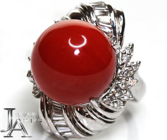 赤珊瑚 赤サンゴ 赤さんご 15.6mm ダイヤモンド 0.9ct 12.5号 PT900 プラチナ【中古】【ジュエリー】MEP