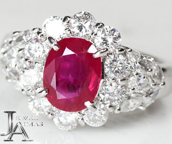 【ジュエリー】ミャンマー産 (ビルマ産) Myanmar(Burma) ルビー 1.88ct ダイヤモンド 1.47ct リング 10.5号 PT900 GIA【中古】