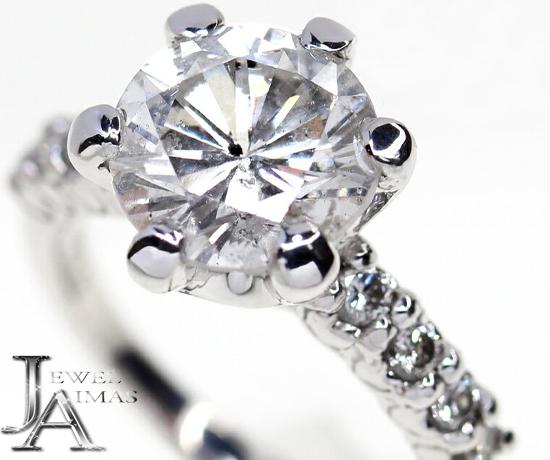 【K.uno】ケイウノ ダイヤモンド(G I-1 GOOD) 2.796ct メレダイヤモンド 0.27ct エンゲージ 婚約 ソリティアリング 10.5号 K18WG ホワイトゴールド <中央宝石研究所ソーティング付>【中古】MJZ