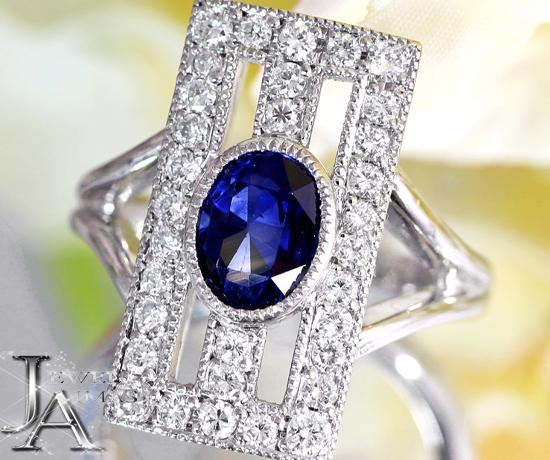 ブルーサファイア 1.45ct ダイヤモンド 0.34ct スクエアデザイン リング 10号 K18WG ホワイトゴールド【中古】【ジュエリー】MJM