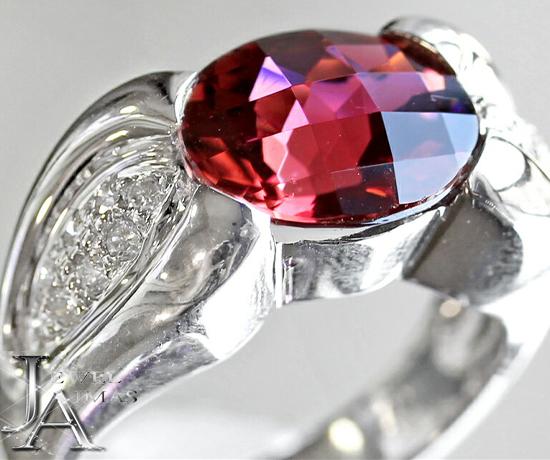 ピンクトルマリン 3.41ct ダイヤモンド 0.22ct リング 11.5号 K18WG ホワイトゴールド【中古】【ジュエリー】MJE