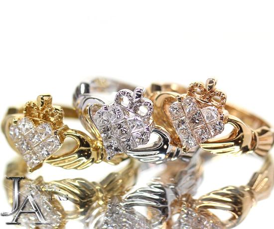 アイルランド伝統『クラダリング』 ダイヤモンド 約0.5ct クラウン 王冠 ハート ハンド 手 ミステリーセッティング ペアリング エンゲージリング 婚約指輪 12号 K18WG/YG/PG【新品】【ジュエリー】ZPJ