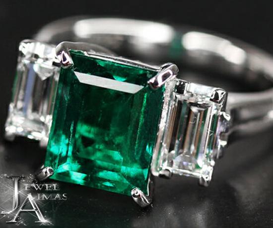 ミキモト エメラルド ダイヤ リング 最上級カラー【MIKIMOTO】ミキモト エメラルド 2.92ct ダイヤモンド 2P リング F1マイナーエンハンスメント <GIA> 11.5号 PT900【中古】
