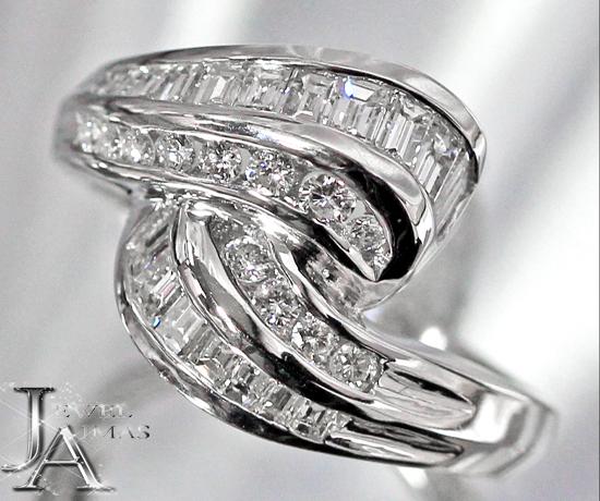 ダイヤモンド 0.75ct バケット リング 9号 K18WG ホワイトゴールド【中古】【ジュエリー】MJZ