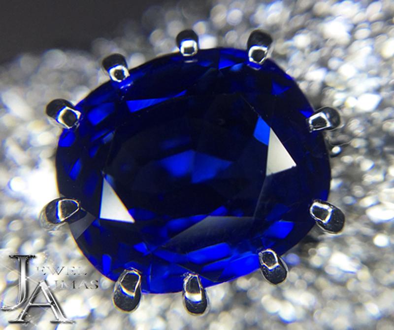 サファイア ダイヤ リング 【ジュエリー】スリランカ産 サファイア 5.32ct ダイヤモンド 6.1ct ロイヤルブルー リング 13号 PT900 Sri Lanka Royal Blue Vivid Blue GRS【中古】