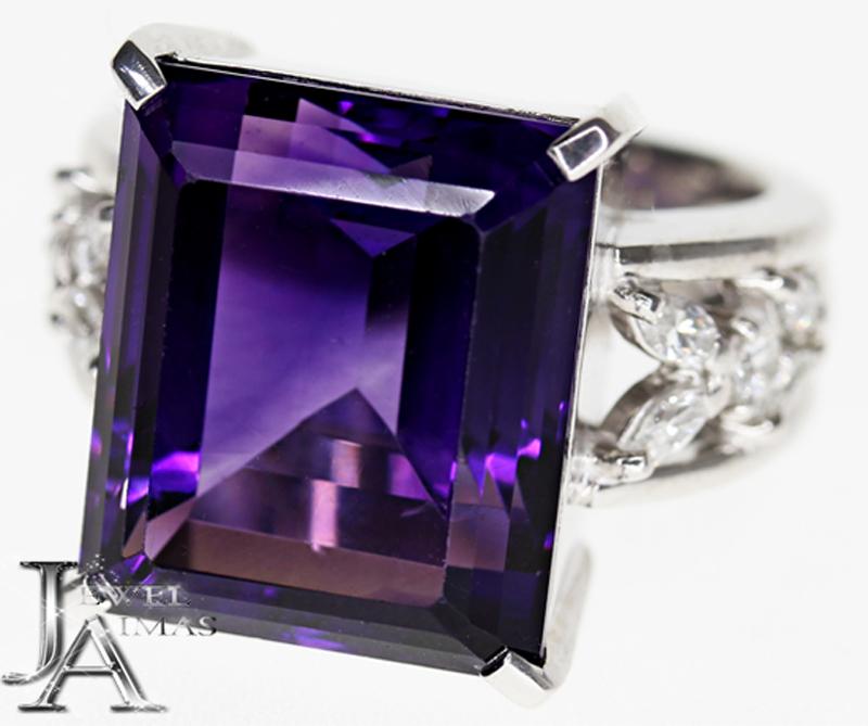 【ジュエリー】アメジスト 13.83ct ダイヤモンド 0.5ct リング 11号 PT900【中古】