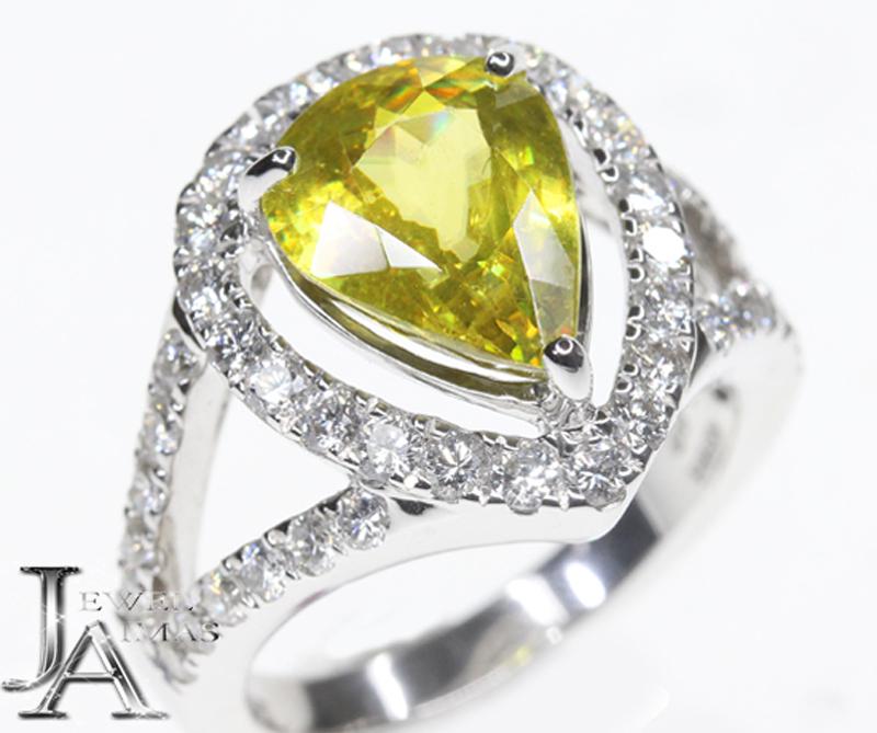 【ジュエリー】スフェーン 3.9ct ダイヤモンド 1.06ct リング 12号 K18WG【中古】