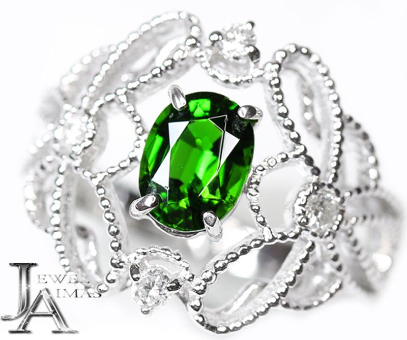クロムオプサイド ダイオブサイト 1.04ct ダイヤモンド 0.14ct リング 12号 PT900 プラチナ【新品】【ジュエリー】MJL