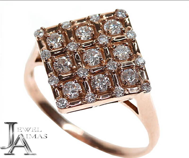 新品【ジュエリー】ダイヤモンド 9P リング ピンクゴールド 0.62ct K18 15号【中古】