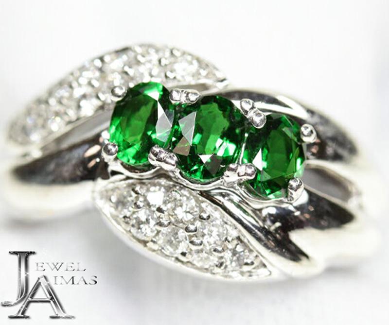 【ジュエリー】グリーンガーネット 0.86ct ダイヤモンド 0.25ct リング 12号 PT900【中古】