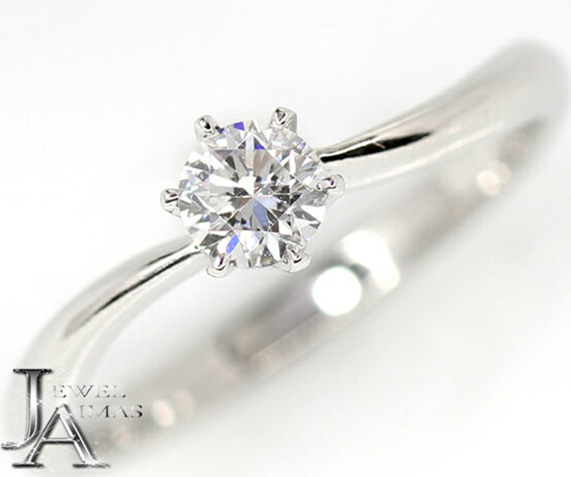 【ジュエリー】ダイヤモンド 0.228ct E SI-1 GOOD マリッジ エンゲージ ソリティアリング PT900 7号【新品】