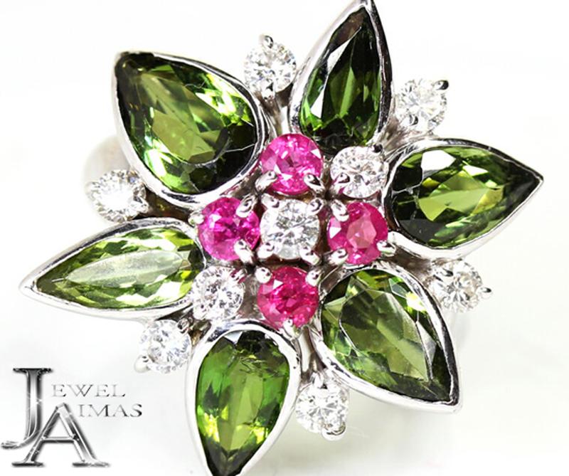 【ジュエリー】グリーントルマリン 5.3ct ルビー 0.85ct ダイヤモンド 0.72ct フラワー リング 13号 K18WG 一点物【中古】