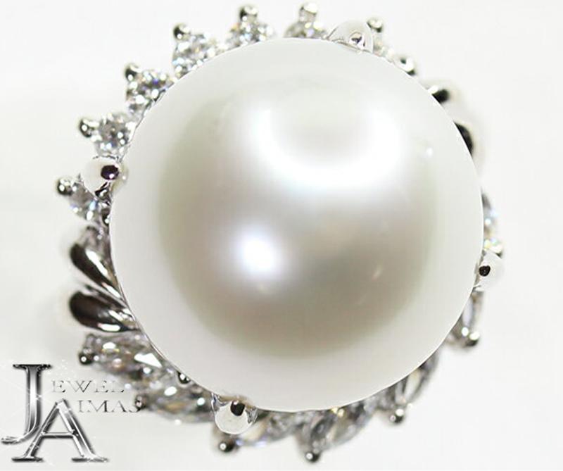 【ジュエリー】南洋パール 白蝶真珠 14.5mm ダイヤモンド 0.83t リング PT900 11号【中古】