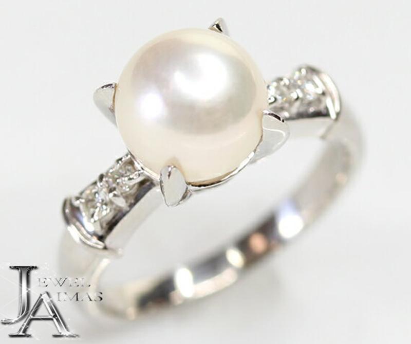 【ジュエリー】パール 真珠 8.1mm ダイヤモンド 0.08ct リング 9号 PT900【中古】ZPZ