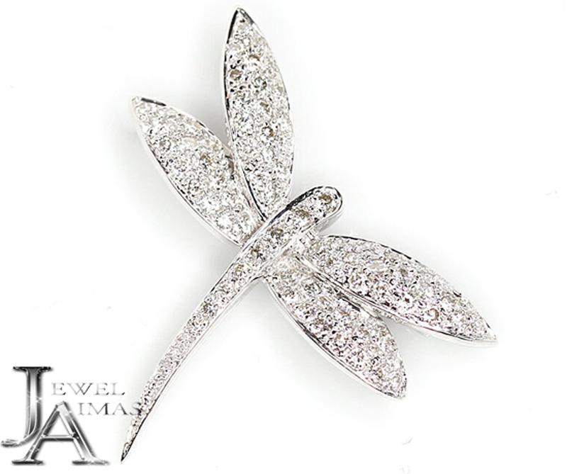 【ジュエリー】ダイヤモンド 0.93ct トンボ とんぼ ブローチ K18WG【中古】ZPZ
