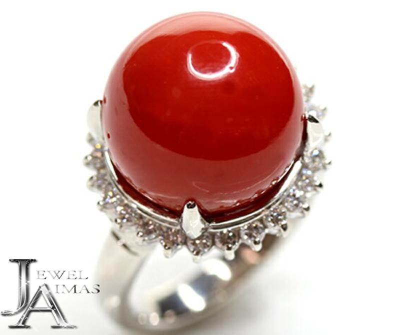 【ジュエリー】赤珊瑚 赤サンゴ 赤さんご 14.6mm玉 ダイヤモンド 0.55ct リング 13号 PT900【中古】ZPY